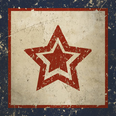 Vintage background with painted red star, grunge metal texture