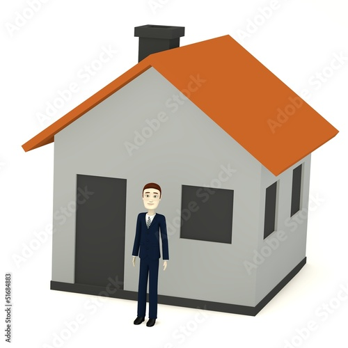 3d render of cartoon character with cartoon house