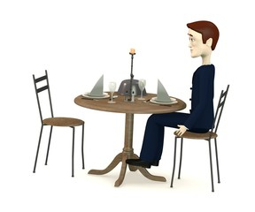 3d render of cartoon characters sits on restaurant