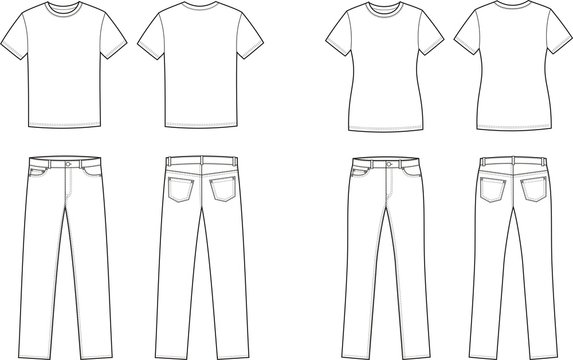 Vector illustration of men's and women's t-shirts and jeans