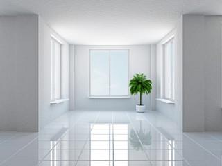 Empty  hall with windows