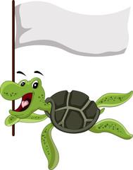 funny turtle cartoon holding flag