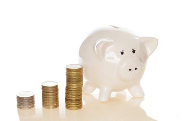 Münzen und Sparschwein
