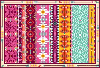 Seamless colorful aztec carpet with birds, and arrow