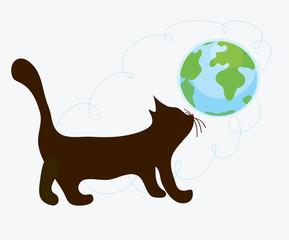 Cat and globe funny cartoon