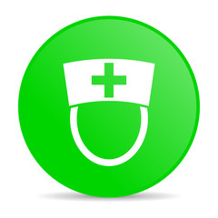 nurse green circle web glossy icon