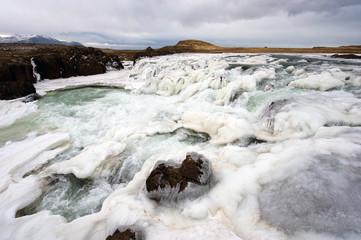 Frozen waterfall in Iceland
