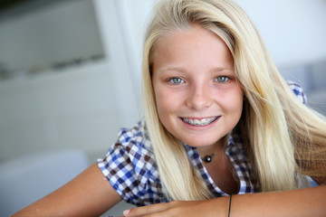 Portrait of smiling blond teenager