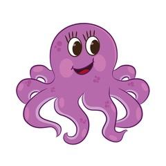 Cartoon octopus. Coloring book. Vector illustration