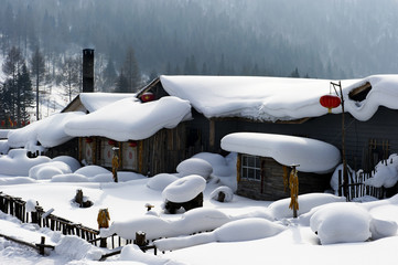 Chinese characteristic farmhouse snowscape