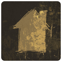 Grunge house. Vector