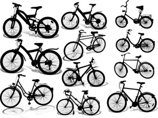 Set of 11 silhouettes of bicycle on a white background
