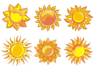 Various suns icon set on white