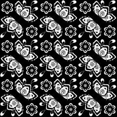 Seamless monochrome floral pattern 5