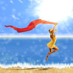 Woman jumping with scarf on beach