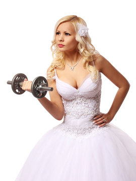 bride with dumbbell isolated on white, concept