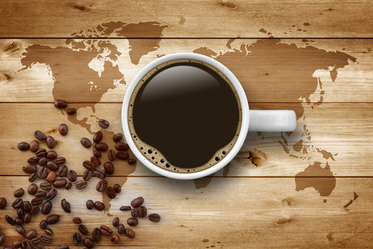 Cup of Coffee with World Map