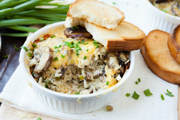 rice baked with cheese and mushrooms