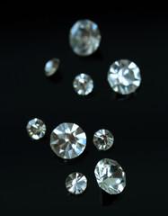 Beautiful shining crystals (diamonds), on black background