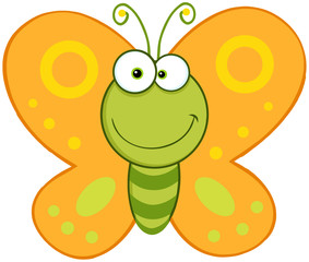 Smiling Butterfly Cartoon Mascot Character