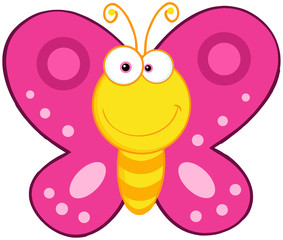 Cute Butterfly Cartoon Mascot Character