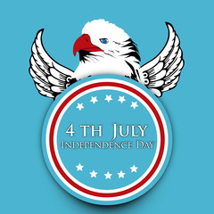 American Independence Day background with badge and eagle and te