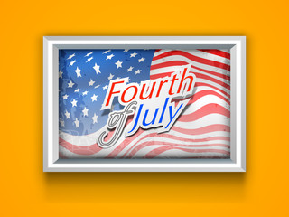American Independence frame on yellow wall with waving flag and