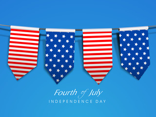 American Independence Day background with flag ribbons and  text