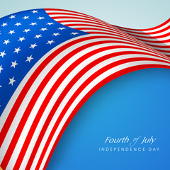 Creative Illustration for American Flag waving with text Fourth