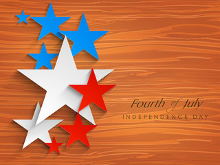 Abstract American Independence Day background with starts on woo
