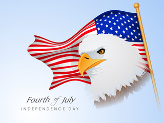 Happy American Independence Day background with eagle, waving fl