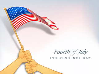 American Independence Day background with waving flag holding by