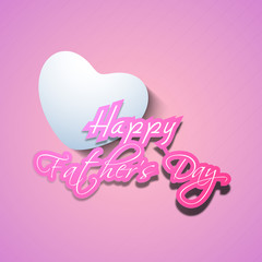Happy Fathers Day text with heart on pink background.