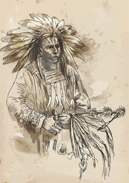 Indian chief holding a peace pipe - Hand drawing into vector