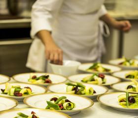 Preparacion de comida vegetariana, servicio gastronomico. Cocina
