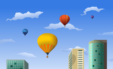 Balloons ascending under the city buildings