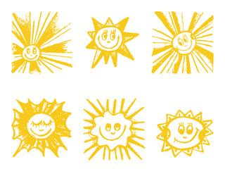 Sun symbols set. Hand drawn vector illustration.