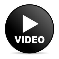 video black circle web glossy icon
