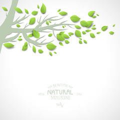 Background with branch and green leaves