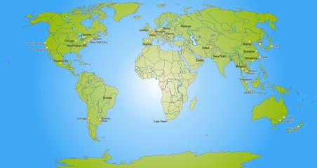 Tuinposter Wereldkaart Weltkarte mit Meeresflächen