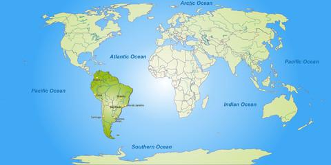 Keuken foto achterwand Wereldkaart Landkarte von Südamerika und der Welt