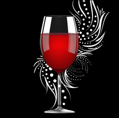 Glass of red wine on the floral background