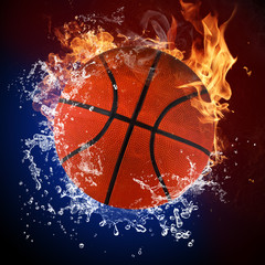 Basketball ball in fire flames and splashing water