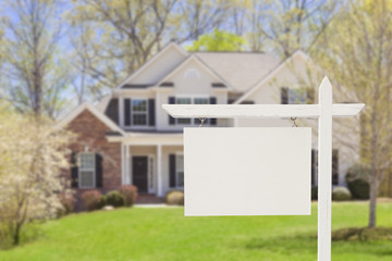 Blank Real Estate Sign in Front of New House