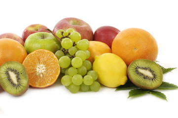 Poster Vruchten Assortment of exotic fruits isolated on white