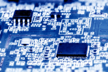 Close-up of electronic circuit board. Macro