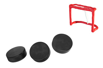 Hockey goals and three goals