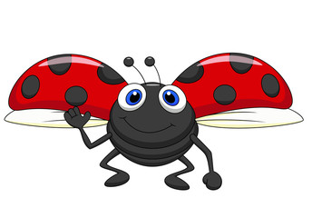 Spoed Fotobehang Lieveheersbeestjes Cute ladybug cartoon flying