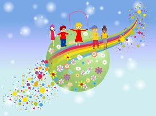 Fotorolgordijn Regenboog dzień dziecka
