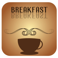 Breakfast logo with a cup of coffee